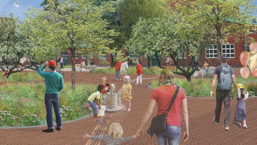 Visionsbild över ett av Sege Parks torg. I bakgrunden syns en av de befintliga byggnaderna som kommer att behållas. Illustration: Tyrens