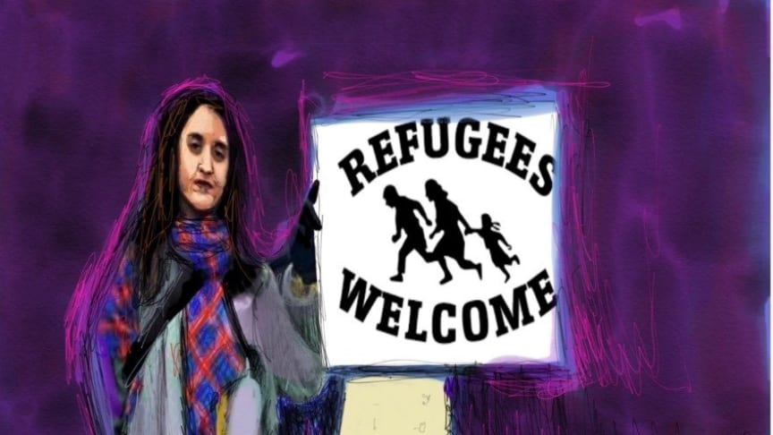 Ett svar på Billströms Tweet. En tecknad Farida al-Abani står vid spärrarna och välkomnar medmänniskor på flykt.