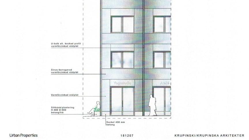 Detaljbild på fasadens uttryck