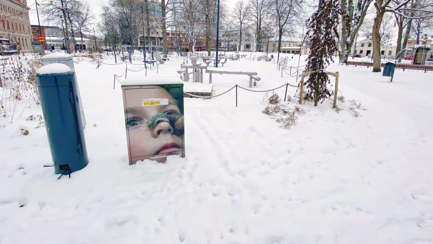 Ett av de sexton elskåp i Skövde som fått nytt utseende med hjälp av Skövdebornas egna bilder. Foto: Ann Walldén/Next Skövde
