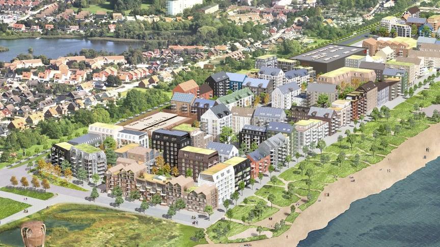 Västra Sjöstaden byggs vid havet i Trelleborg. Kommunens förslag till planprogram innehåller bland annat cirka 1800 nya bostäder och en ny utvidgad strand. Visionsbild framtagen av Kanozi arkitekter på uppdrag av Serneke/Midroc.