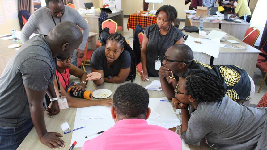 Grupparbete under workshopen med nätverket Kenya4Resilience, våren 2020. Foto: Job Mainye
