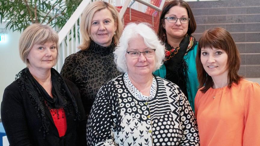 Delar av referensgruppen inför Skogskonferensen (från vänster): Maria Högvall-Nordin, Skogsstyrelsen, Kristin Olsson, Nolia, Ann Dolling, SLU, Monica Forsman, Länsstyrelsen och Linda Nyström, Skogstekniska klustret.