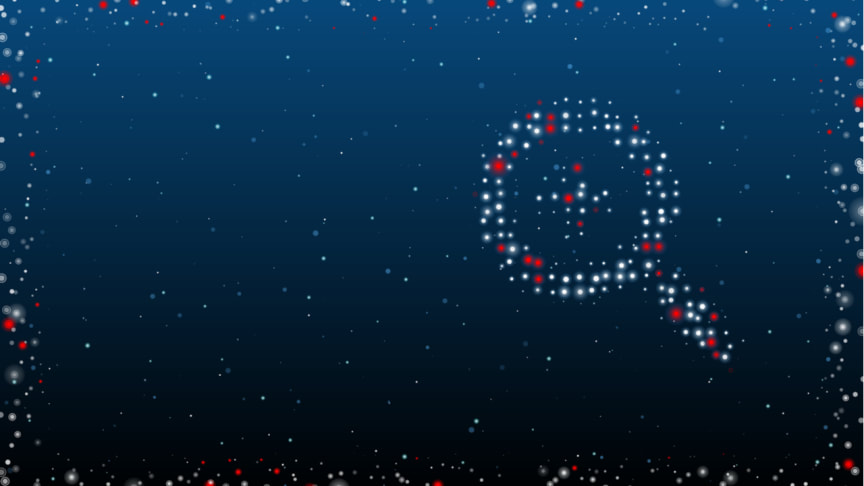 Magnifying glass illustration formed from white and red dots on a dark blue background. Royalty-free stock illustration ID: 1967381209
