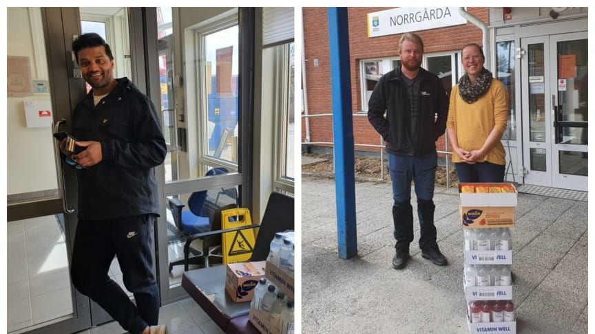 Marcus Westman och Daniel Molander delade ut snacks och dryck till vårdpersonal i Skellefteåområdet.