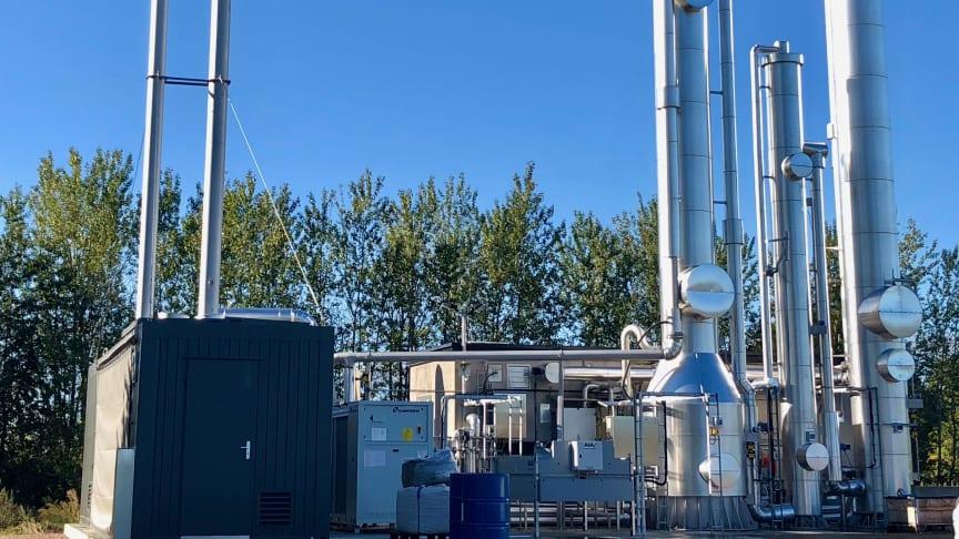 Den nya uppgraderingsanläggningen för biogas på Ellinge avloppsreningsverk.