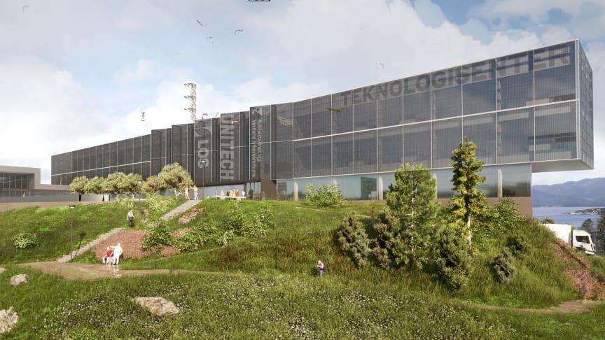 Det kombinerte teknoligisenteret og yrkesskolen på Rubbestadneset i Bømlo kommune | Illustrasjon: Holon.