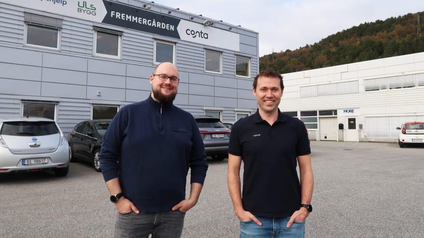 Audun Sæther, daglig leder i Timerabbit og Jan-Tore Holen, daglig leder i Conta.