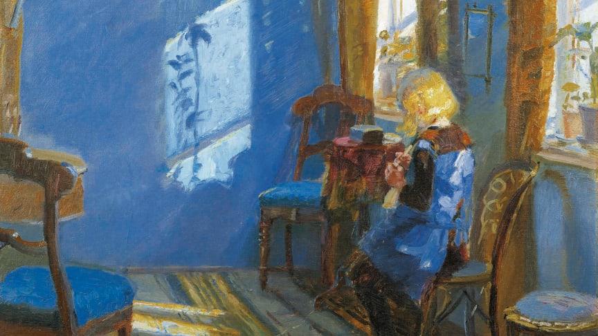 Anna Ancher, Solskinn i den blå stue (1891), utsnitt, Skagens kunstmuseer. (Nedlastbare bilder lenger ned)