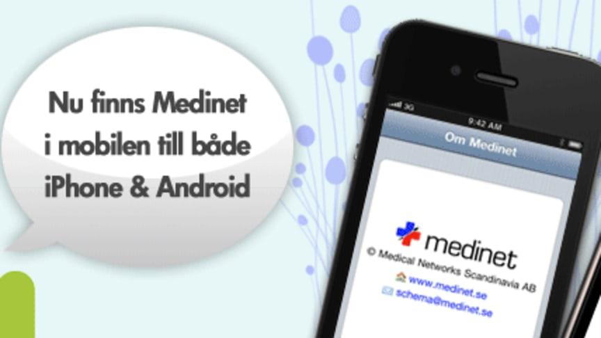 Medinet lanserar mobilapplikationer för iPhone och Android. Användarna, varav de flesta är läkare, kan se sitt schema i sin mobiltelefon med hjälp av dessa applikationer.