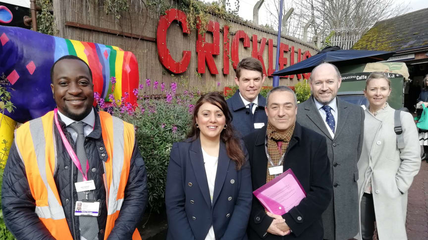 Celebrating funding announced today by DfT to fund step-free access at Cricklewood Station are Accessibility Minister Nusrat Ghani MP (second from left) with officials from GTR and Network Rail