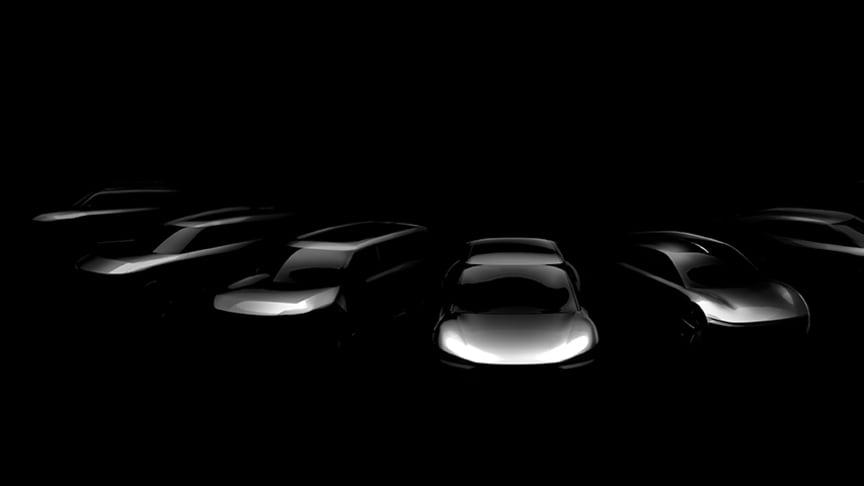 En första skissbild på de sju helelektriska modeller Kia ska lansera fram till 2027.