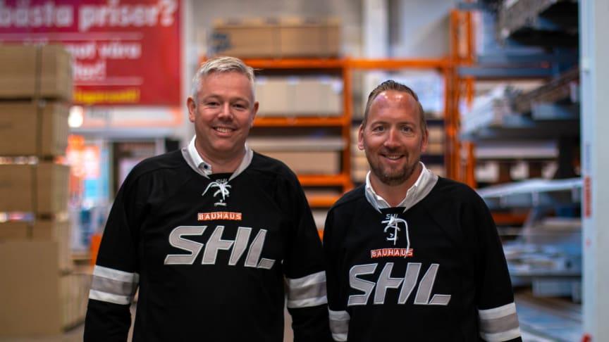 BAUHAUS VD Kenneth Litland och marknadschef Johan Saxne.
