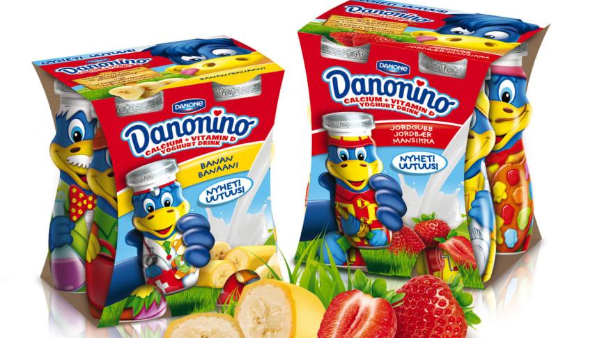 Barnens favorit i nya kläder! - Roliga maskoten Dino pryder Danonino drickyoghurt