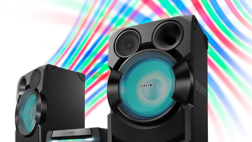 Torne a festa inesquecível com os sistemas áudio de alta potência da Sony
