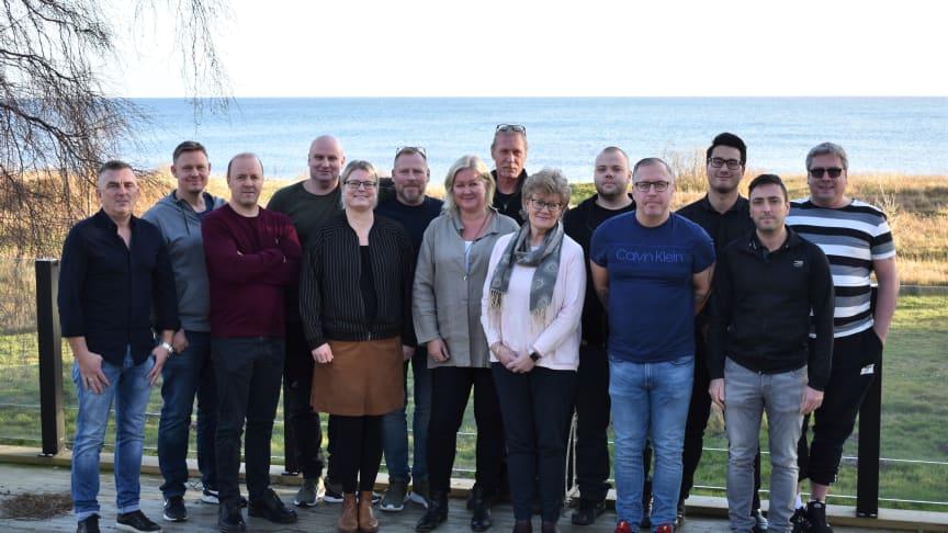 Deltagare i THAB Academy 2020/2021 på introduktion i Smygehuk med kursledarna Marita Östberg och Birgitta Larsson Lindersköld