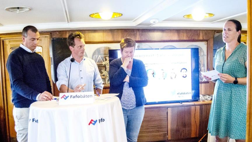 Kjetil Thorvik Brun fra Abelia, Line Eldring i Fellesforbundet og Jørgen Aarhaug, TØI, deltok i paneldebatten etter innleggene. Til høyre møteleder Kristin Alsos.  (Foto fra Fafo)