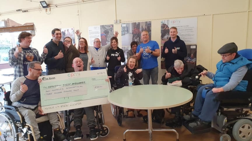 One of the charities to receive a donation is Cerebral Palsy Midlands