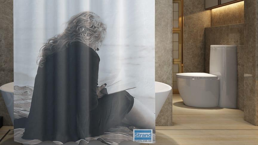 Revolutionerande duschdraperi som suger åt sig vattenånga