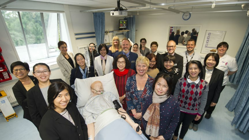 A delegation from Thailand's Ministry of Public Health at Northumbria University's Clinical Skills Centre