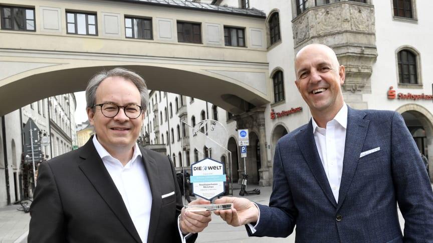 (v.li.) Florian von Khreninger-Guggenberger, DIrektor Private Banking und Vorstandsmitglied Stefan Hattenkofer freuen sich über den erneuten Test-Sieg.