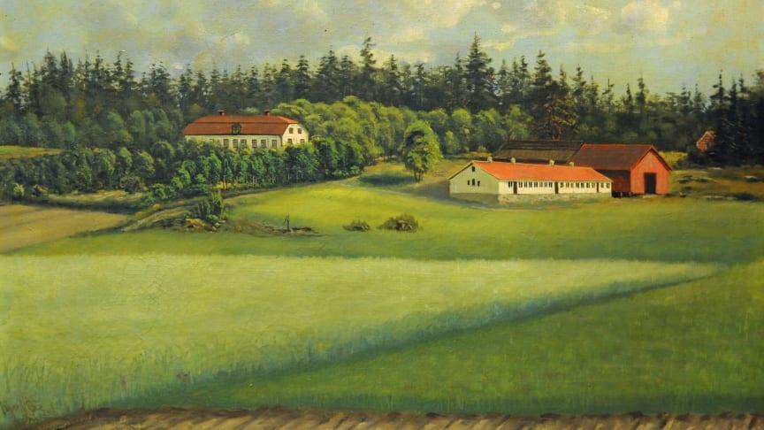 Malma gård i Badelunda socken utanför Västerås 1896. Oljemålning av Johnny Eie, Västmanlands läns museum. Foto av Kjell-Åke Jansson.