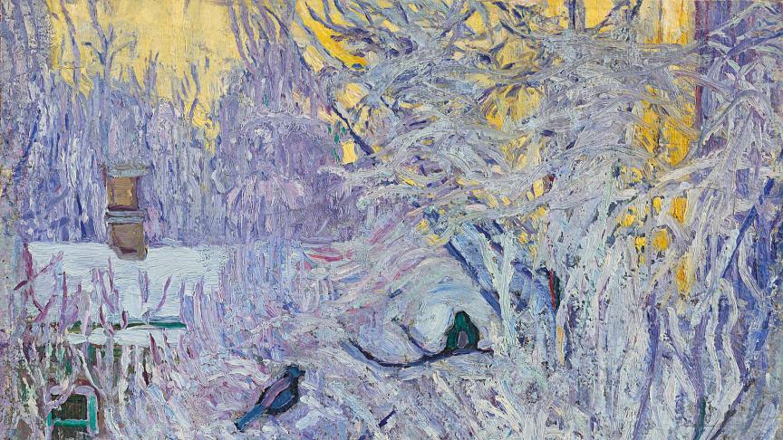 """Winter- und Weihnachtsstimmung bietet bei einem online- Besuch des Museum Barberini das Werk """"Dompfaffen im Baum"""" von Olga Rosanowa. C: 1907/08, Öl auf Leinwand auf Hartfaser, 63 x 51 cm Staatliche Tretjakow-Galerie, Moskau."""