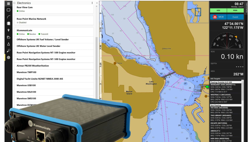 iKommunicate now converts all of the NMEA data it receives into the Coastal Explorer protocol
