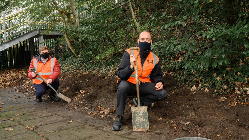 Bulbs by the bucket-load: Groundwork East's James Newell (left) and Tom Moran from Govia Thameslink Railway launch their station landscaping and artwork partnership