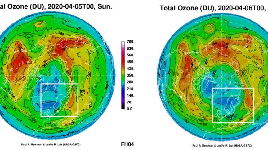 Slik varsler NASA/GSFC at ozonhullet kan være plassert 5. og 6. april. Jo mørkere blå farge, jo mindre ozon i atmosfæren. Skandinavia er markert med en hvit ramme. Kilde: NASA/Goddard Space Flight Center