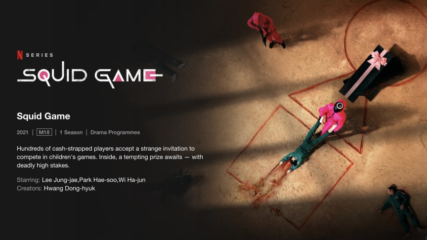 Screenshot of the Squid Game page on the Netflix website