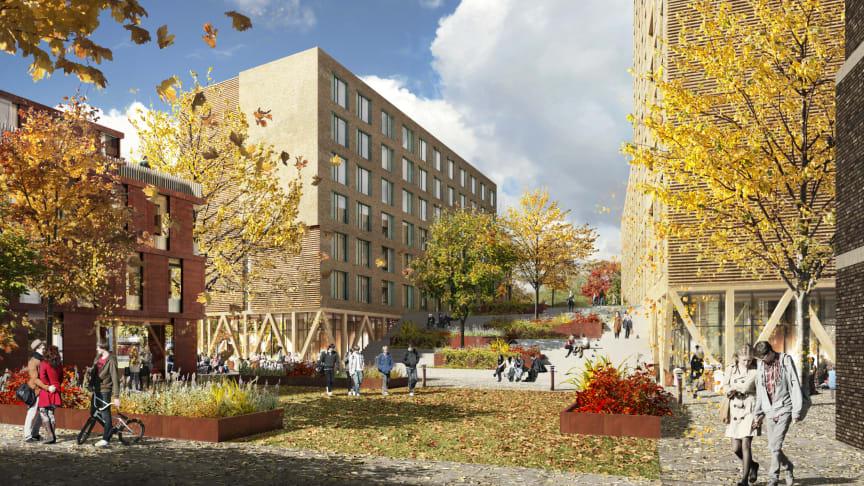 Studentboligene vil ligge sentralt til i Lillestrøm, med kort gangavstand til jernbanestasjonen.