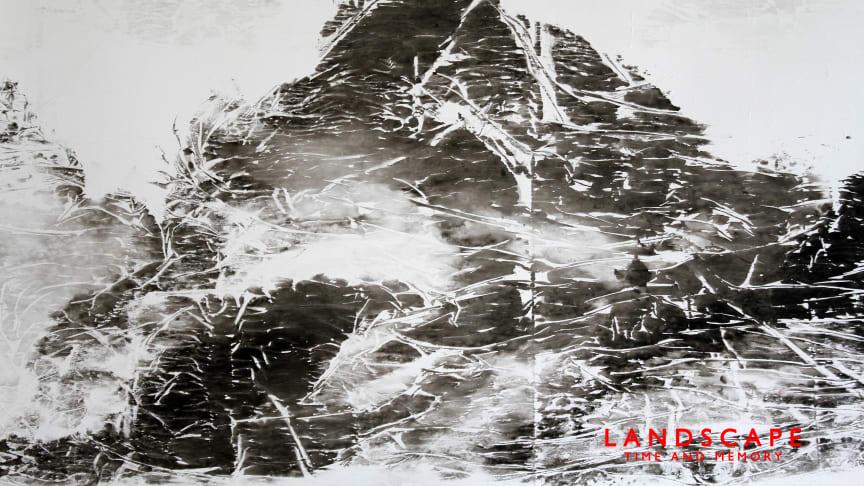 Berit Jonsvik. Landscape 1. Ink on Bible Paper. Målning. 2021