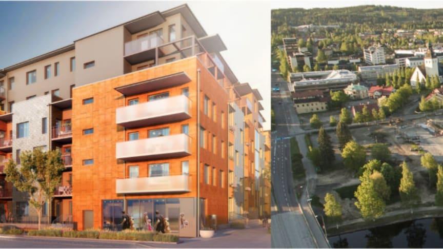 Riksbyggens pågående projekt Brf Slätpricken i Västerås (tv) och Strömsör (th) i Skellefteå där Riksbyggen planerar att bygga nya bostadsrätter.