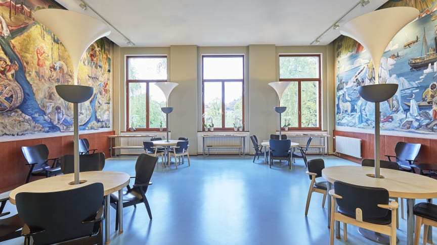 I renoveringen av Eastmaninstitutet har de kulturminnesmärkta väggmålningarna från 1936 bevarats.