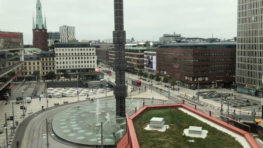 Utsikt från kontorslokalerna i Sergelhuset