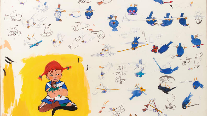 Ingrid Vang Nyman, Pippi, blå fugle og skitser af småpiger