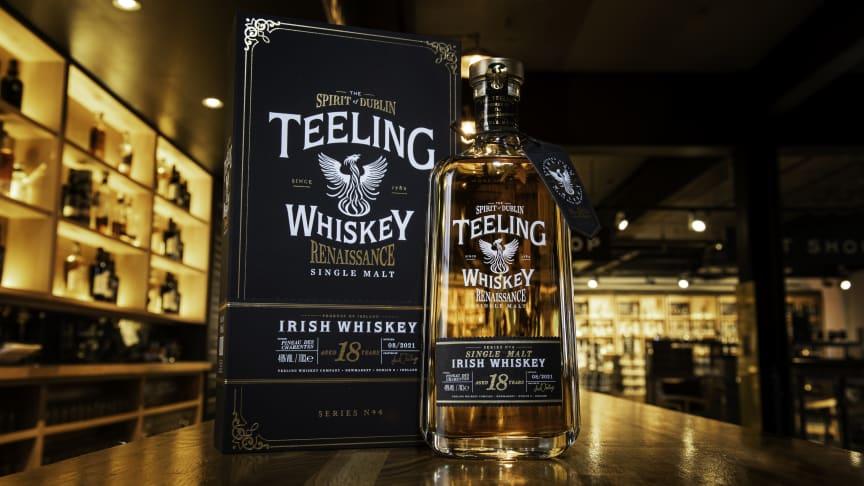 Teeling Renaissance Series 4 Single Malt Whiskey Pineau des Charentes Cask 18 Years Old, prisbelönt irländsk whiskey i perfekt harmoni med franska starkvinsfat.