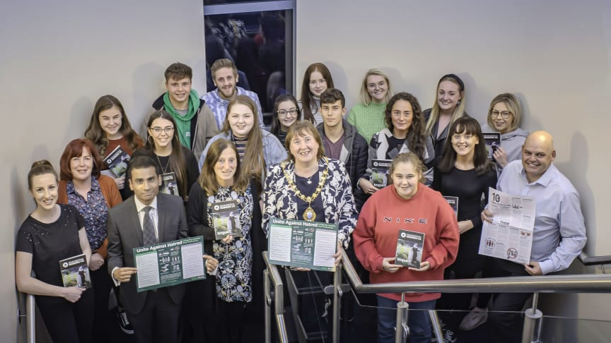 Pictured is the Mayor of Mid and East Antrim Borough Council, Councillor Maureen Morrow with the young leaders heading to Bosnia-Herzegovina to learn about Srebrenica Genocide