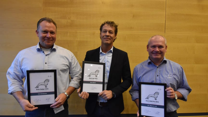 De tre vindere. Erik Christiansen, MAN Esbjerg, Søren Nybroe, MAN Aarhus samt Kenneth Hansen, H.E. Jørgensen A/S.