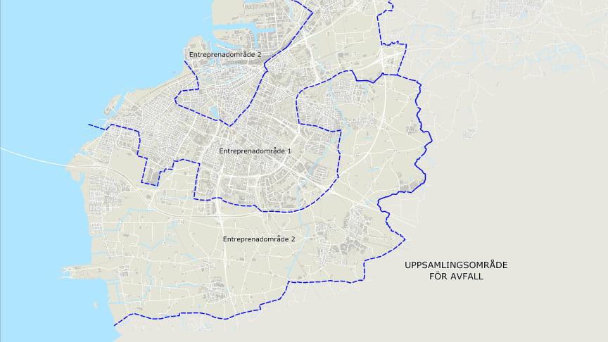 I område 1 fortsätter RenoNorden att hämta soporna. I område 2 kommer Ohlssons att hämta soporna hos villafastigheterna och RenoNorden hämtar soporna hos flerfamiljsfastigheter och verksamheter.