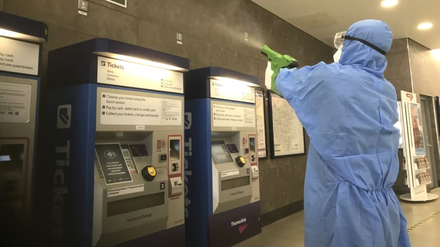 Electrostatic wands and special backpacks are delivering a viruscide that kills viruses for up to 30 days at Southern, Thameslink and Great Northern stations and in staff areas. The entire train fleet of 2,700 carriages has been treated too