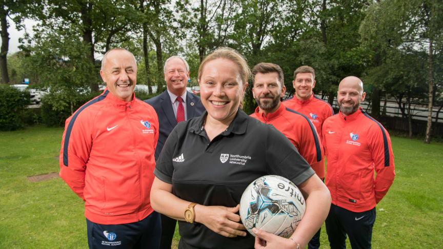 From left: i2i Director Kent Mayall, Pro Vice-Chancellor of Business and Law John Wilson, Head of Sport and Exercise Katy Storie, i2i Director James Gore, i2i Head of International Academy Andy Milne, i2i Director of Sport Danny Gore