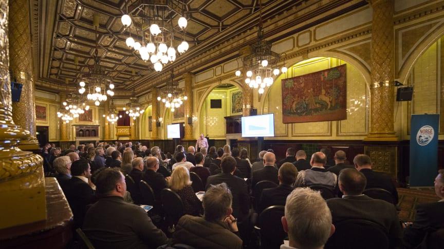 Rundt 130 personer deltok på Sjømatrådets Norwegian Cod & Haddock Conference i London. Foto: Norges sjømatråd
