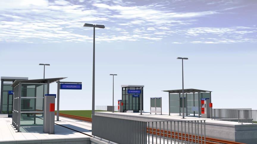 Die neue Projektvorlage von ALLPLAN für die BIM-basierte Bahnsteigplanung beinhaltet zahlreiche Objekte, die den Workflow der Planung, Modellerstellung, Auswertung, Dokumentation und Datenübergabe unterstützen. © ALLPLAN.