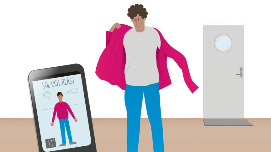 Appar som tipsar om vilka kläder som lämpar sig för dagen är exempel på digital teknik som kan bidra till delaktighet, självbestämmande och självständighet för personer med funktionsnedsättning. Illustration: Åsa Klingberg
