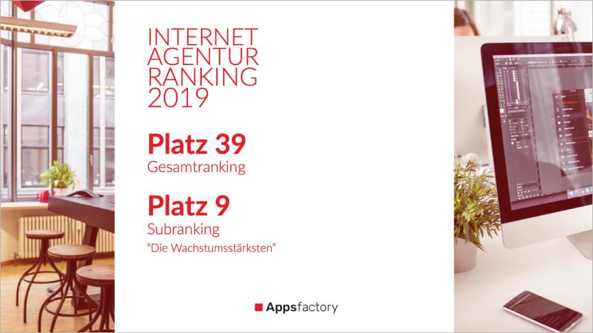 Internetagentur-Ranking 2019: Appsfactory springt um 11 Plätze nach oben