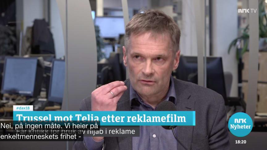 """Skapte overskrifter: Med kampanjen """"Vær Trygg. Vær Fri. Vær Deg Selv"""" har Telia tatt et verdibasert standpunkt til samfunnsrelaterte temaer. Her fra Dagsnytt 18 på NRK, 2. april."""