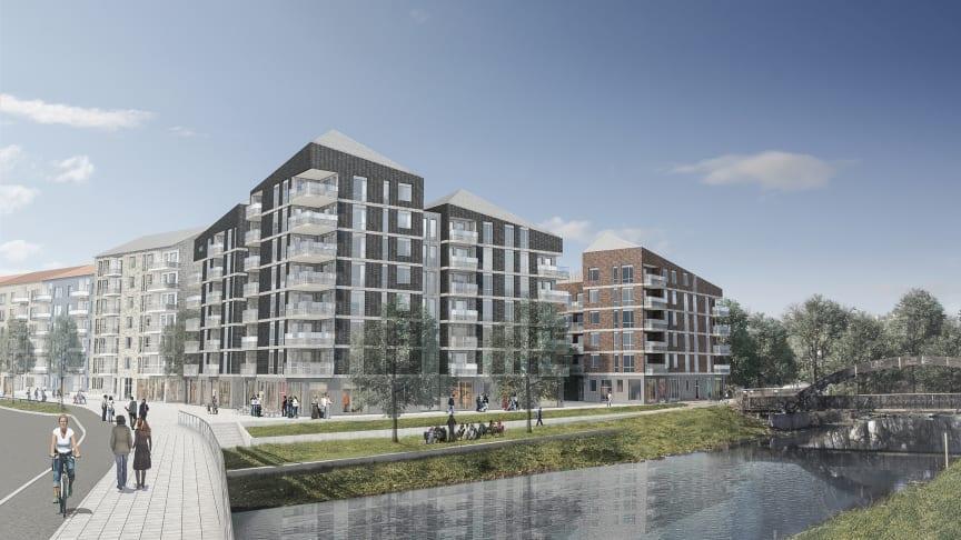 HSB planerar att bygga premium-bostadsrätter i Luthagen Strand, strax intill åkanten vid Fyrisån