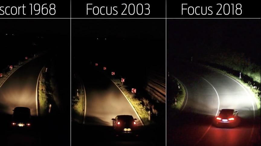 Rask utvikling: Mye har skjedd på lysfronten de siste 50 årene. Nå tar nye Ford Focus enda et steg og tilbyr et nytt kamerabasert prediktivt kurvelyssystem.